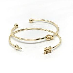 Jewelry - Knot & Arrow Gold Tone Bracelet Set of 2